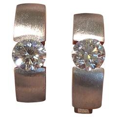 1.01 Carat Diamond Hoops White Gold