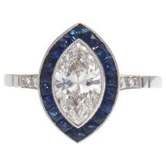 1.01 Carat Diamond Sapphire Platinum Engagement Ring