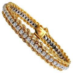 1.01 Carat Diamonds Vintage Three Tiered Rope Chain Bracelet 14 Karat