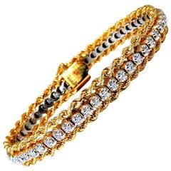 1.01 Carat Diamonds Vintage Three-Tiered Rope Chain Bracelet 14 Karat