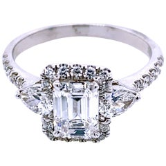 1.01 Carat E/SI1 Emerald Cut Diamond 18 Karat Pave Set Engagement Ring with Halo