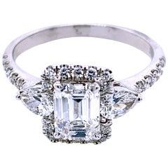 1.01 Carat E/SI1 Emerald Cut Diamond 18 Karat Pave Set Engagement Ring with Halo