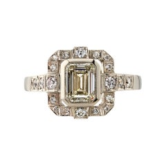 1.01 Carat Emerald Cut Diamond Set in a Handcrafted White Gold Engagement Ring