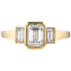 1.01 Carat Emerald Cut Diamond Set in a Handcrafted Yellow Gold Engagement Ring