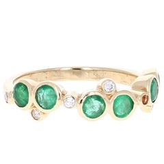 1.01 Carat Emerald Diamond Yellow Gold Band