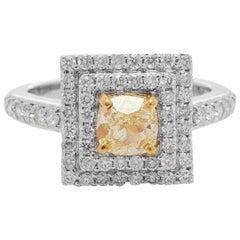 1.01 Carat Fancy Yellow Diamond Ring, 18 Karat Gold