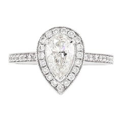1.01 Carat G SI1 Pear Shape Diamond Halo 18 Carat White Gold Engagement Ring