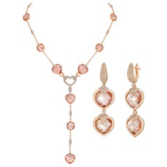 101 Carat Morganite Heart Earrings and Necklace in 18 Karat Gold with Diamond