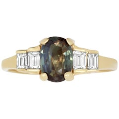 1.01 Carat Natural Color Changing Alexandrite and 0.34 Carat White Diamond Ring
