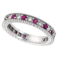 1.01 Carat Natural Diamond and Pink Sapphire Eternity Band 14 Karat White Gold