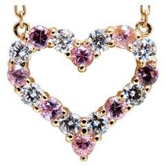 1.01 Carat Natural Pink Sapphires Diamond Open Heart Necklace 14 Karat