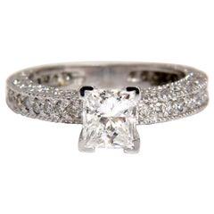 1.01 Carat Natural Princess Cut Diamond Ring 14 Karat