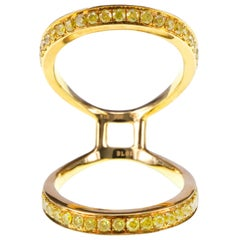 1.01 Carat Natural Vivid Yellow Diamond Butterfly Wing Effect Knuckle Ring