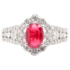 GIA Certified 1.01 Carat No Heat Ruby and Diamond Ring Set in Platinum