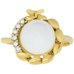 1.01 Carat Pearl and 0.09 White Diamond Ring