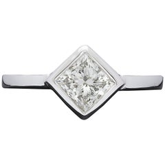 1.01 Carat Princess Cut Diamond and Gold Solitaire Ring