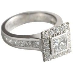 1.01 Carat Princess Cut Diamond and Halo Engagement Ring in 18 Karat White Gold
