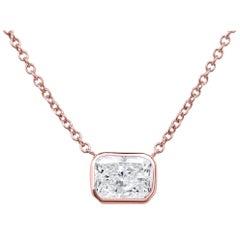 1.01 Carat Rectangular Cut Diamond Rose Gold Pendant Necklace