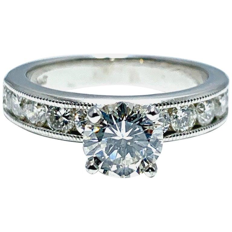 1.01 Carat Round Brilliant Cut Diamond and Platinum Engagement Ring For Sale