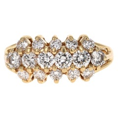 1.01 Carat Round Cut Diamond 14 Karat Yellow Gold Cluster Ring