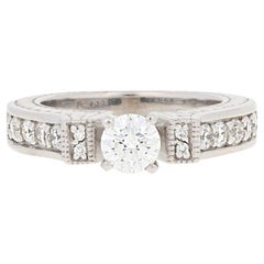 1.01 Carat Round Cut Diamond Engagement Ring, 14 Karat White Gold Milgrain