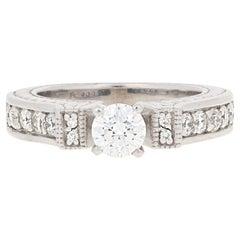 1.01 Carat Round Cut Diamond Engagement Ring, 14 Karat White Gold Milgrain