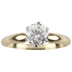 1.01 Carat Round Diamond Solitaire 18 Karat Yellow Gold Engagement Ring