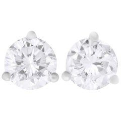 1.01 Carat Round Diamond Stud Earring