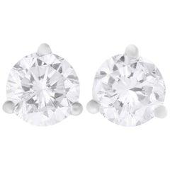 1.01 Carat Round Diamond Stud Earring
