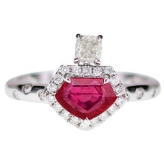 1.01 Carat Superman Cut Vivid Red Ruby Designer Ring