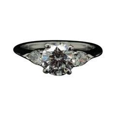 1.01 Carat Tiffany & Co Round and Pear Brilliant Cut Platinum Engagement Ring