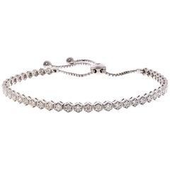 1.01 Carat Total Diamond Adjustable Bracelet in 14 Karat White Gold