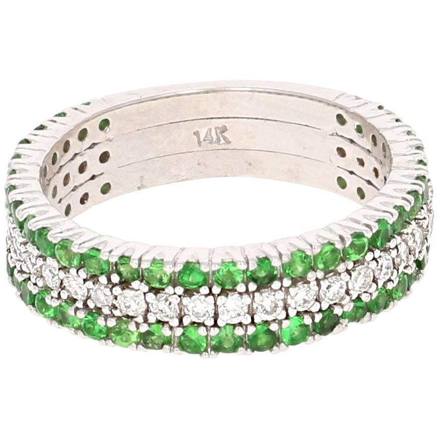 1.01 Carat Tsavorite Diamond 14 Karat White Gold Band
