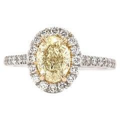 1.01 Carat Yellow Diamond Halo Ring