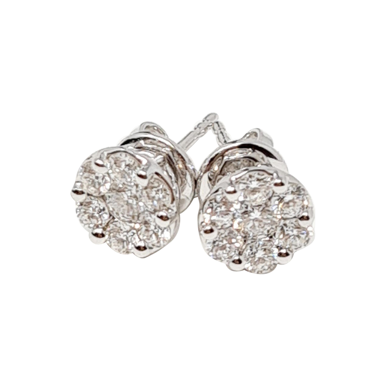 1.01 Ct Diamonds 18kt White Gold Fine Stud Earrings