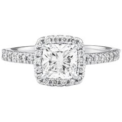1.01 Cushion Cut 'GIA' Diamond Halo Engagement Ring, Platinum