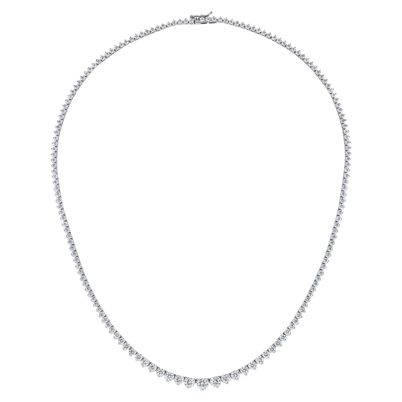 GIA Certified 10.67 Carat Diamond Graduated Riviera Necklace