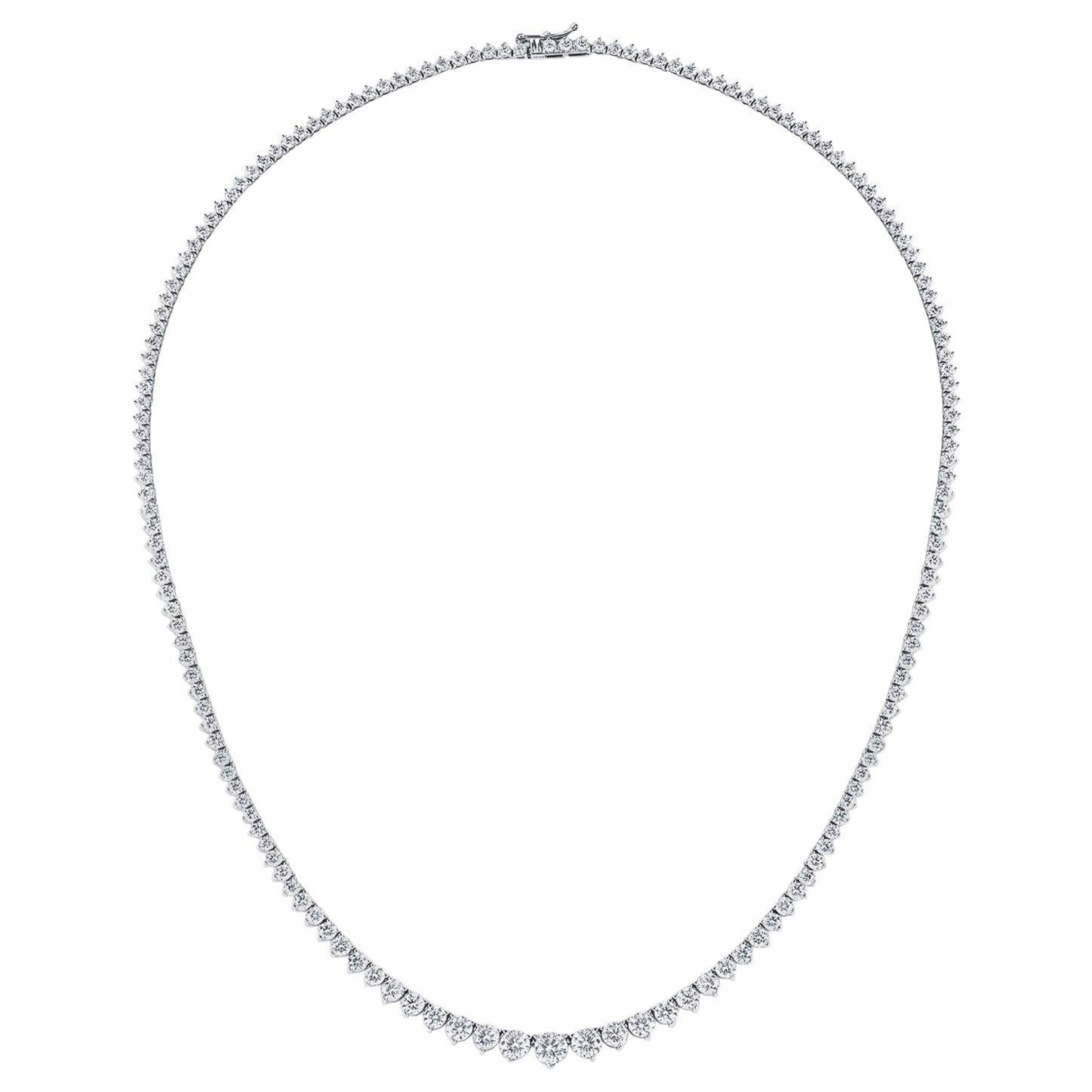 GIA Certified 10.71 Carat Diamond Graduated Riviera Necklace