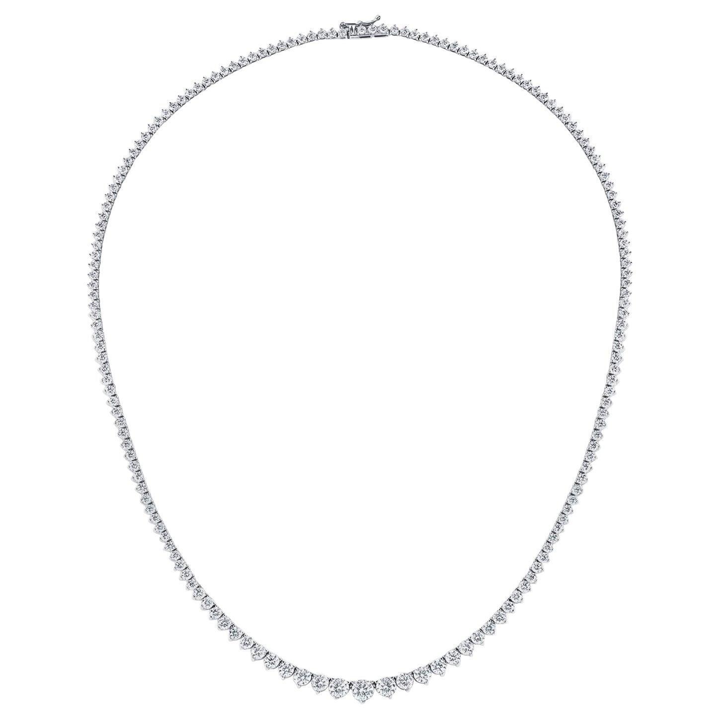 GIA Certified 10.75 Carat Diamond Graduated Riviera Necklace