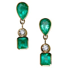 10.12 Carat Natural Colombian Emerald Diamond Dangle Earrings 18 Karat