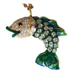 10.12 Carat Natural Sapphire Emerald and Diamonds Enamel Fish Pendant 18 Karat