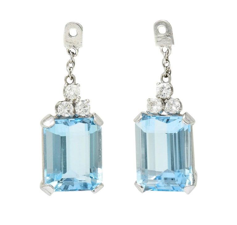 Contemporary 10.12 Carats Aquamarine Diamond 18 Karat White Gold Stud Enhancer Drop Earrings