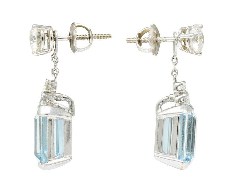 Emerald Cut 10.12 Carats Aquamarine Diamond 18 Karat White Gold Stud Enhancer Drop Earrings