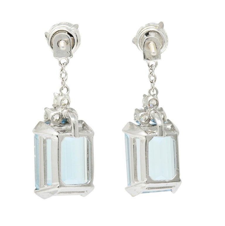10.12 Carats Aquamarine Diamond 18 Karat White Gold Stud Enhancer Drop Earrings In Excellent Condition In Philadelphia, PA