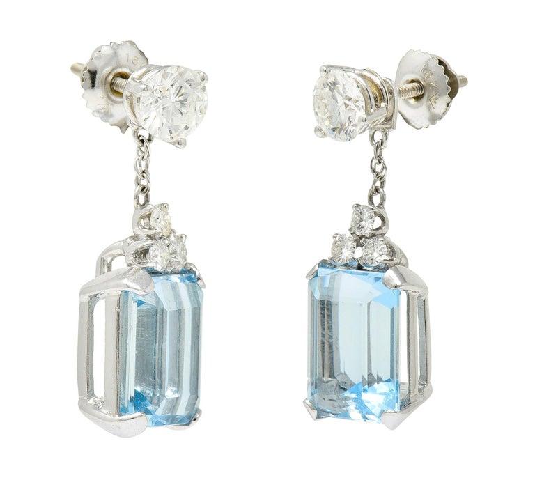 10.12 Carats Aquamarine Diamond 18 Karat White Gold Stud Enhancer Drop Earrings 2