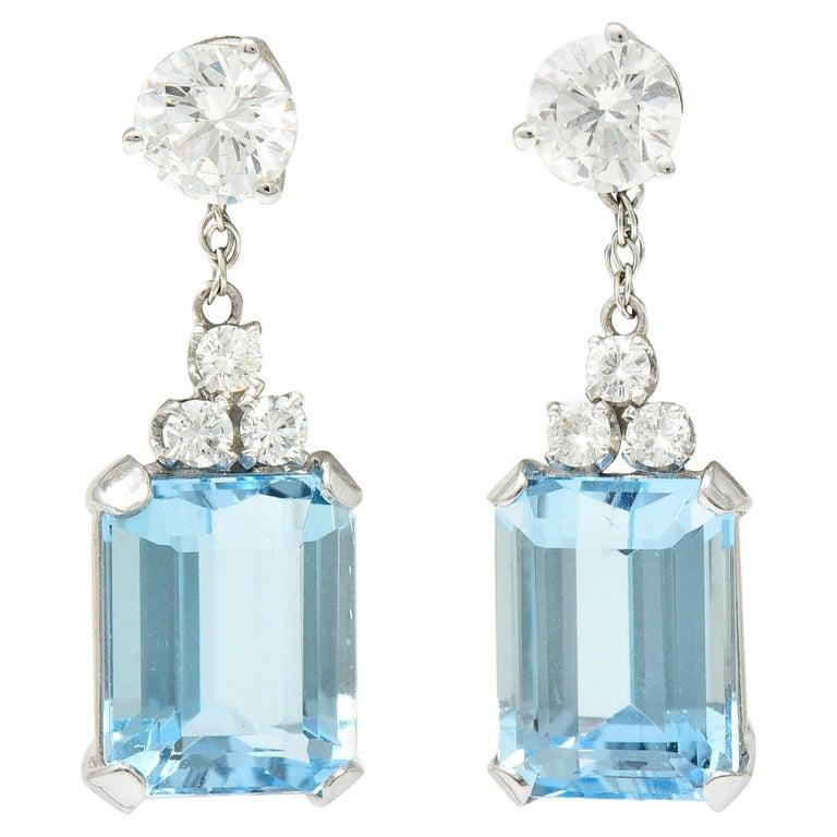 10.12 Carats Aquamarine Diamond 18 Karat White Gold Stud Enhancer Drop Earrings