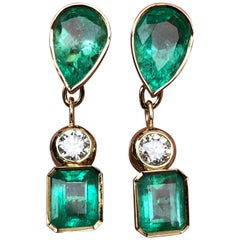 10.12 Carat Natural Colombian Emerald Diamond Dangle Earrings 18 Karat