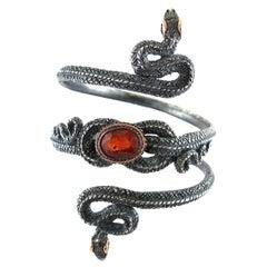 10.12 Ct Spessartine Garnet Adjustable Organic Silver Snake Arm Cuff