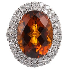 10.13 Carat Checkerboard Citrine and Diamond Ring