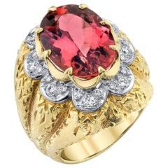 GIA 10.13 Carat Imperial Topaz, Diamond, Yellow, White Gold Engraved Dome Ring